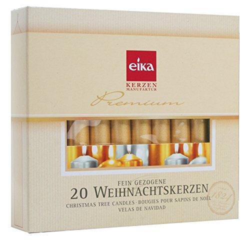 Eika Velas de Navidad - Velas para Árboles - Oro - Caja de 20 - Fabricado en Alemania