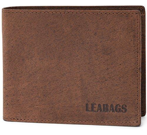 LEABAGS Austin Geldbeutel aus echtem Büffel-Leder im Vintage Look - Muskat -