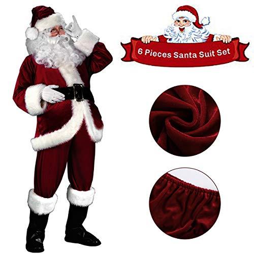 Weihnachtsmänner Kostüm - C-Oral Weihnachtsmann Nikolauskostüm Kostüm für Herren, 6 teilliges Weihnachten Santa Claus Kostüm