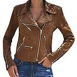 TIFIY Damen Jacke Biker Kurze Jacke Bomber Jacke Retro Reißverschluss Mantel Fashion Outwear Outdoor Steppjacke Strickjacke Mantel(Khaki,EU-34/CN-S)