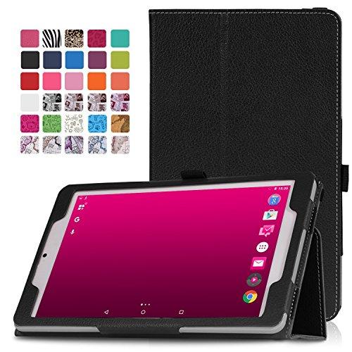 MoKo Telekom Tablet Puls Hülle - PU Leder Ständer Tasche Schutzhülle Lederhülle Schale Smart Case mit Stift-Schleife und Standfunktion für Deutsche Telekom Puls 8 Zoll Tablet, Schwarz