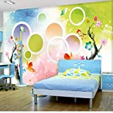 Guyuell Fototapete 3D Romantische Mode Aquarell Cartoon Kreis Wandbilder Kinder Schlafzimmer Wohnzimmer Hintergrund Wandmalerei 3 D-350cmx245cm