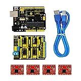 CNC Kit für Arduino - KEYESTUDIO CNC Breakout Board mit CNC-Erweiterungskarte V3.0 +Uno Mikrocontroller Board + 4pcs a4988 Treiber / GRBL Kompatibel für Starter Kit