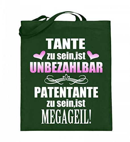 Hochwertiger Jutebeutel (mit langen Henkeln) - Tante unbezahlbar - Patentante Megageil Grün
