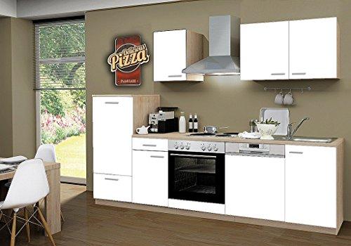 idealShopping Küchenblock mit Geschirrspüler und Chrom Kochmulde Classic 270 cm in weiß