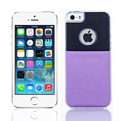Sinjimoru sinji Étui portefeuille fin Support Coque rigide transparente pince à billets pour cartes pour iPhone 5/5S violet