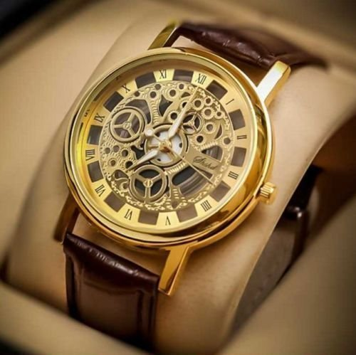 """My Timeâ""""¢ New Arrival Special Collection Transparent Analog Gold Dial Brown Strap Men\'s & Boy\'s Watch 
