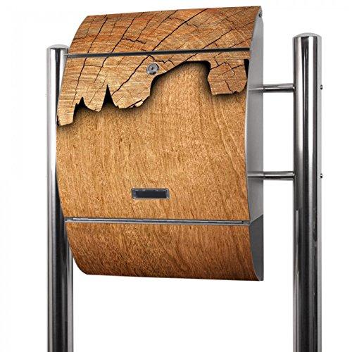 BANJADO Edelstahl Briefkasten groß, Standbriefkasten freistehend 126x53x17cm, Design Briefkasten mit Zeitungsfach Motiv Holz
