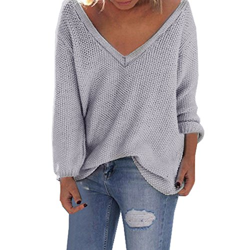 Yidarton Damen Langarm Strickpullover mit V-Ausschnitt Pulli Lose Strickjacke Knitwear Sweatshirt Jumper Tops (XL, Grau) (Pullover Strickjacke Mädchen Langarm)