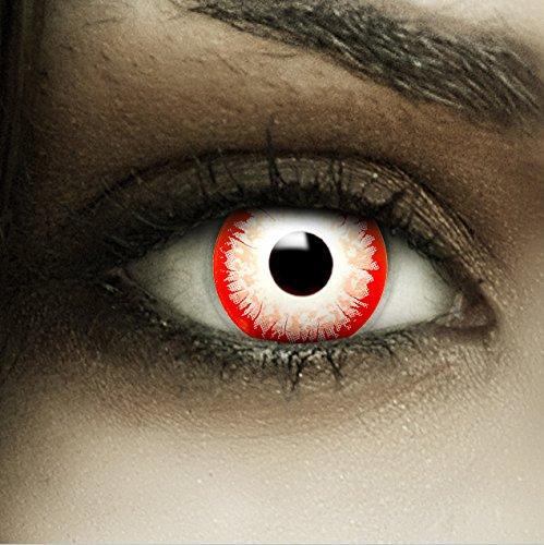 Farbige weiß rote Kontaktlinsen Zombie Clown + Kunstblut Kapseln + Behälter von FXCONTACTS®, weich, ohne Stärke als 2er Pack - perfekt zu Halloween, Karneval, Fasching oder Fasnacht