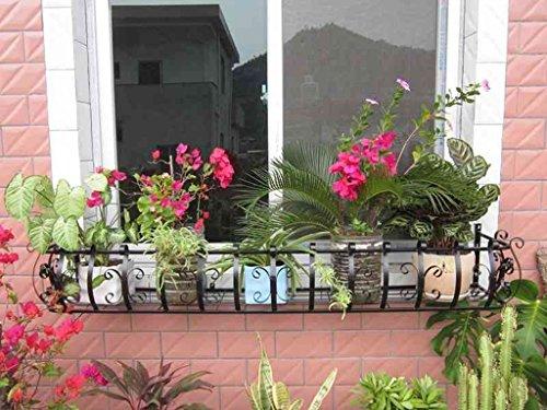 JAZS® Porte-fleurs en fer, balustrade extérieure Balustrade pour pot de fleurs étagère pour plantes noir 80 × 28 × 20cm protection de l'environnement raffinée ( taille : 120*28*20cm )