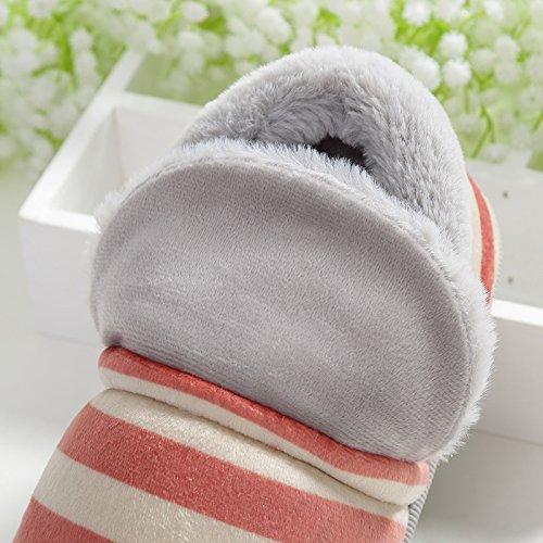 YMFIE Femmes Hommes épaississement amoureux anti slip coton rayures chaussons chaussures B