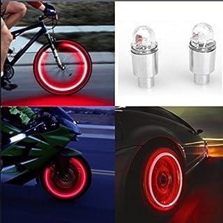 gaddrt Autozubehör Fahrradzubehör Neon Blau Strobe LED Reifen Ventilkappen-2PC (Rot)