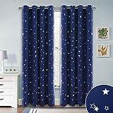 RYB HOME Verdunklung Gardine Sterne - Dunkel Blau Vorhang Blickdicht Ösen Verdunklungsvorhänge für Schlafzimmer Lichtblockierend & Wärmeisolierend, 1 Paar H 182 x B 132 cm