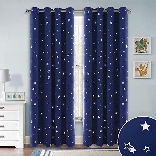 Pony dance tende oscuranti blu - tende bambini tessuti termiche isolanti con stelle stampate/decorazione per finestre camera da letto, 2 pannelli, 132 x 210 cm (l x a)