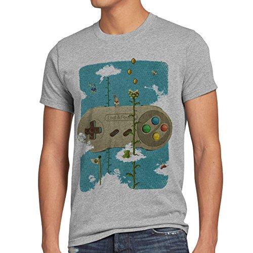 style3 16-Bit Nostalgie T-Shirt Herren snes mario super kart 8-bit yoshi, Größe:S, Farbe:Grau meliert