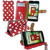 Emartbuy® LG L90 Dual Premium PU Leder Brieftaschen Wallet Etui Hülle Case Cover aus PU Leder Polka Dots Rot Weiß mit Kreditkartenfächern