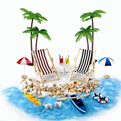 ikrolandschaft Miniliegestuhl Strandkorb Sonnenschirm Kleine Palme Deko Accessoires, 16 Stück Miniatur-Ornament-Set für DIY Fee, Garten, Puppenhausdekoration ()
