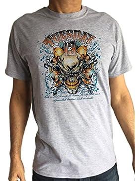 Irony Camiseta Hombre Rock Skeleton Bones 'Tuesday 13' Punk Metal Print TS1207