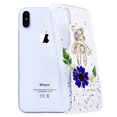 "WE LOVE CASE iPhone X Hülle Blumen Echt und Bär Transparent Glitzern iPhone X 5.8"" Hülle Silikon Weich Gelb Handyhülle Tasche für Mädchen Elegant Backcover , Soft TPU Flexibel Case Handycover Stoßfest purple"