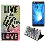 K-S-Trade® Für -Nubia Z17 Mini S- Schutz Hülle 360° Wallet Case ''live Life Love'' Schutzhülle Handy Tasche Handyhülle Etui Smartphone Flip Cover Standfunktion (1x)