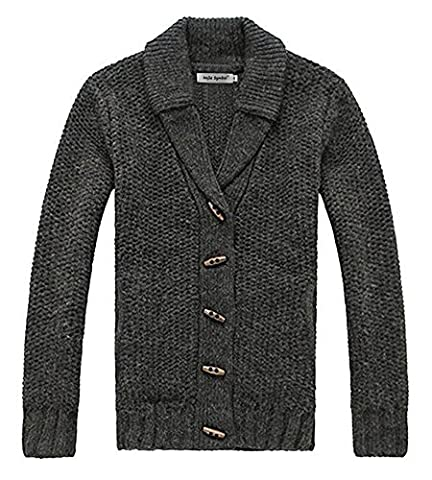 Najia Symbol Men's Winter Wool Blend Shawl Collar Button Cable Knitted Cardigans With Pockets Jumper (UK M/Label L, Dark grey)