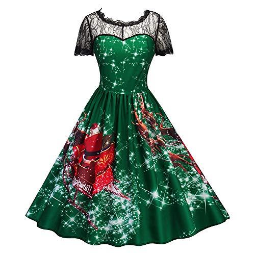 Women Hollow Lace Collar Printed Pattern Round Neckline Christmas Swing Flared Midi Dress Weihnachtsfeier Party Kostüm Party Kleider Frau Strand Cocktail (Grün ()