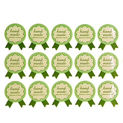Hand Made Badge Stickers for Home Baking Gift Packaging, Green Color, Pack of 150