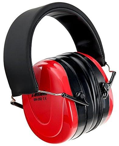 XDrum EPOE-K On Ear Gehörschutz (Lärmschutz, Kopfhörer, stufenlos verstellbar, hoher Tragekomfort, gepolstert, Kinder & Erwachsene, 239 g) rot/schwarz