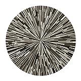 HZZ-Teppich Geometrische gestreifte Teppich schwarz und weiß grau einfache abstrakte Muster runden Teppich Computer Tabellen und Stühle Matten ( größe : 140cm )