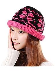 Mujer del sombrero del otoño y del invierno Días Mantenga casquillo de las lanas que hace punto caliente ( Color : Pink )