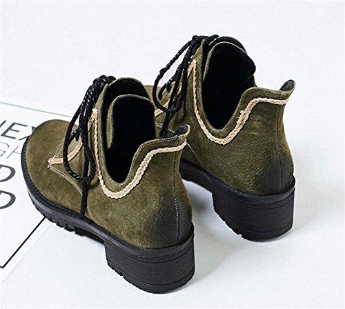 Scarpe da donna Inverno pelle scamosciata Casual Ankle Martin Stivali intrecciati Laces Basso blocco Tacco Ufficio Size36To38 Green