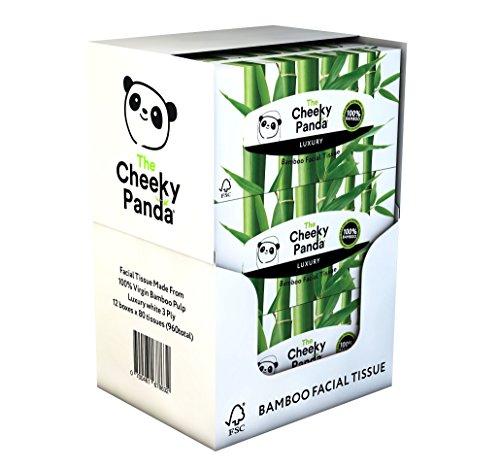 Der freche Panda 100Prozent Bambus Facial Tissue flach Box, 12Stück, insgesamt 960Gewebe