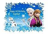 Frozen Elsa Anna Olaf Personalisierte Kuchen Topper Puderzucker Papier A4Bild K12