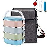JINRU Lebensmittelbehälter Quadrat Kunststoff Mit Tasche Geschirr Set 304 Edelstahl Thermobento Lunchbox Tragbare Schulkinder,Color,3