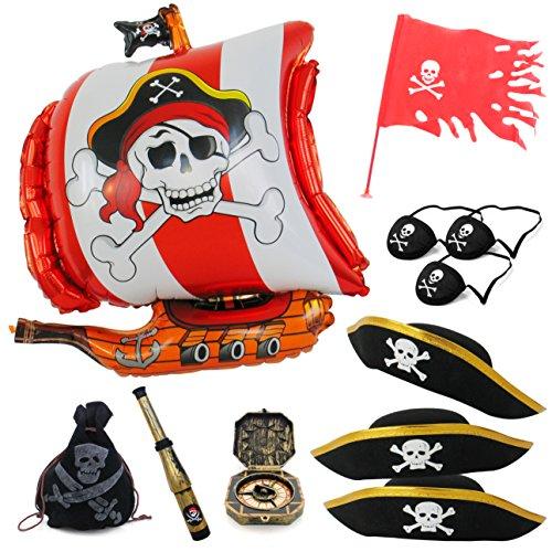 Preisvergleich Produktbild Kinder Team spielen Piraten Party Paket mit Pirat Schiff Folie Ballon Piratenfahne Piratenmütze Augenklappen Piratenfernrohr Kompass Schatzbeutel (Piraten-Team-Gold)