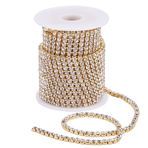 BENECREAT 10 Yards(ca. 9.14M) 4mm Crystal Strass schlie?en Kette klar Trimmen Klaue Kette Sewing Craft uber 1965pcs Strass - Crystal (Gold Bottom) -