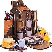 Apollowalker Mochila de picnic, para 4 personas, bolsa termica con vajilla y mantel