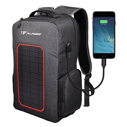 ALLPOWERS Solar Rucksack 7W Solarpanel, Solar Ladegerät Powerbank 6000mAh Akku Backup Laptop Rucksack Solarrucksack für Camping, Wandern,...