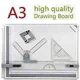 A3 Zeichenplatte 50 x 36,5 cm, GOCHANGE Zeichenbrett Zeichentisch mit Parallelbewegung , Winkel einstellbar, Metric Messsystem für Professionell Arbeiten