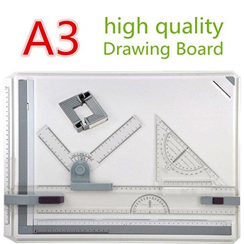 Tablero de Dibujo A3, GOCHANGE 50 x 36.5cm Diseño de Mesa con Movimiento Paralelo y Ángulo Ajustable