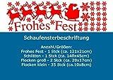 SH26 'Frohe Weihnachten - Schlitten' - Schaufenster Beschriftung Aufkleber Werbung Schaufensterwerbung Schaufensteraufkleber (193x58cm) glanzgold (gespiegelt)