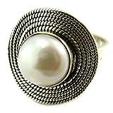 Les Trésors De Lily [P3701] - Silber ring 'Perla' elfenbein silber - 20 mm.