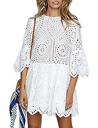 ef3815c68549 Missy Chilli Damen Kleid Kurz Sommer Elegant Langarm O Ausschnitt Baumwolle  Spitze Mini Kleid Knielangkleid Dress