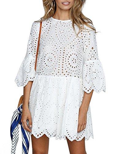 Terryfy Damen Kurz Kleid Elegant Spitze Langarm Sommer Kleid Trompetenärmel Minikleid Weiß