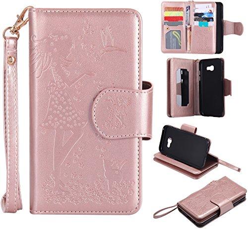 Cozy Hut Samsung Galaxy A5 2017 Schutzhülle, [9 Card Slots] PU Leder Flip Wallet Case Leder Tasche Bumper Stand Funktion Kartenfächer Magnet Closure HandyHülle für Samsung Galaxy A5 2017 - Rose Gold