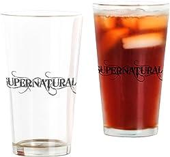 CafePress–Supernatural, Schwarz–Pint-Glas, 16oz Trinkglas