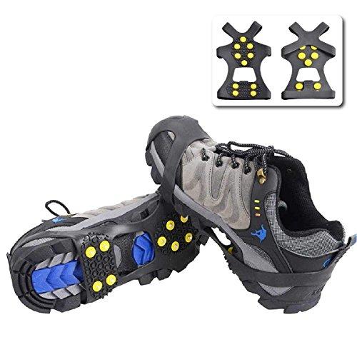 TRIWONDER Ice Grips 10 Dientes Antideslizante Zapato/Bota Ice Traction Slip-on Snow Puntas de Hielo Crampones Calas Estiramiento de la tracción del Calzado (Negro, XL (EUR: 45-48))
