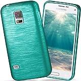 moex Samsung Galaxy S5 Mini | Hülle Silikon Türkis Brushed Back-Cover TPU Schutzhülle Ultra-Slim Handyhülle für Samsung Galaxy S5 Mini Case Dünn Silikonhülle Rückseite Tasche