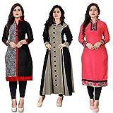 Pramukh Fashion Women's Cotton Semi Stitched Kurti (M-21, Multi Color, Pack of 3)